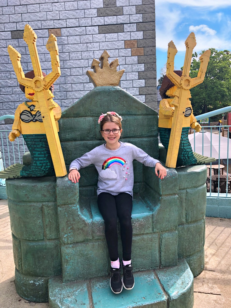 Outside the ride Atlantis when visiting Legoland Windsor
