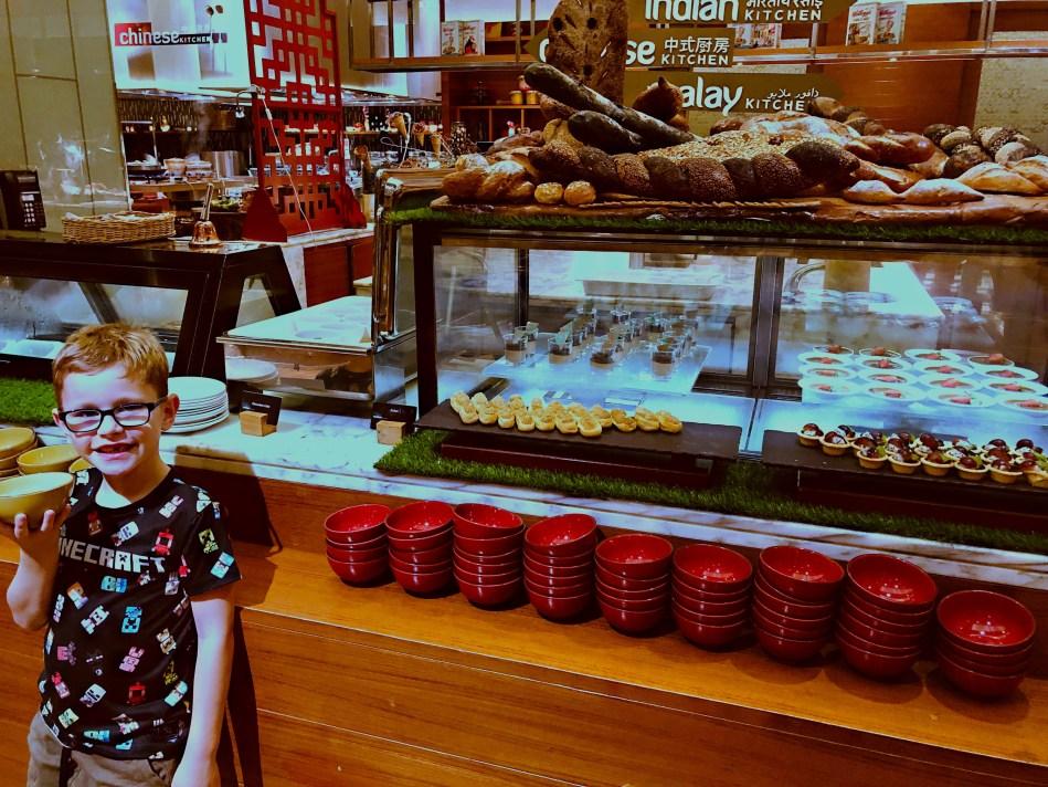 Beautiful buffet at the Hilton Doubletree, Johor, Malaysia, hiding the photo travel fail