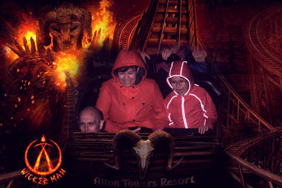 A photo that captures a clear travel fail in taking my daughter on to the Wickerman Roller Coaster at Alton Towers!