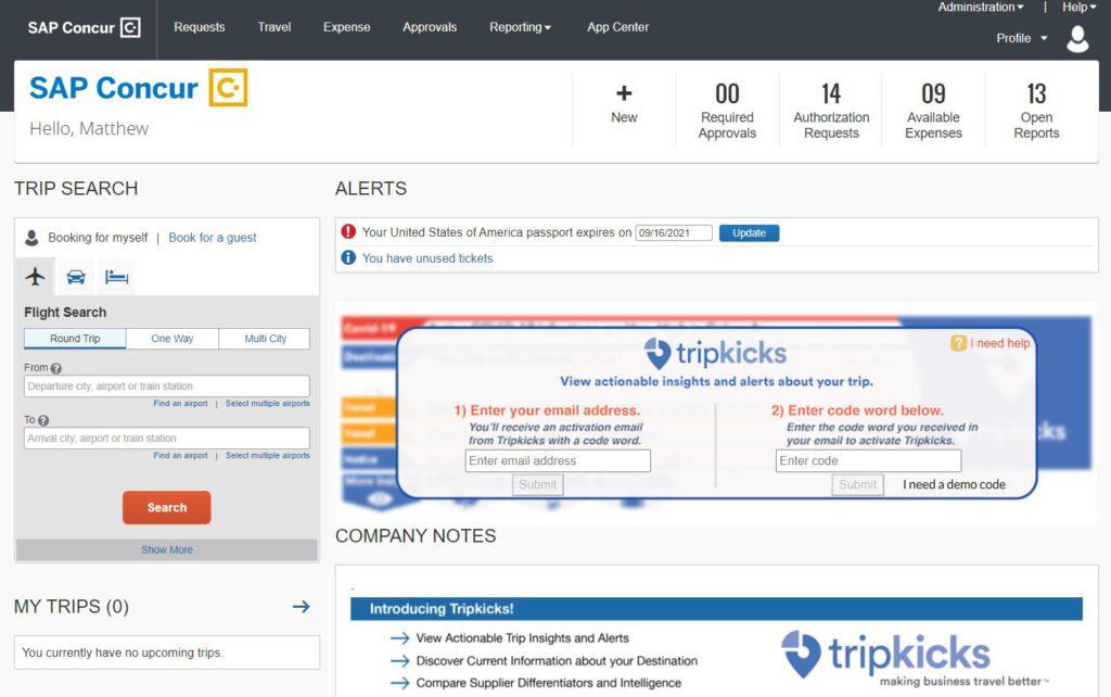 Tripkicks Activation Banner in Concur