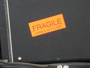 A labeled fragile items box