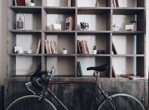 a bicycle near shelves