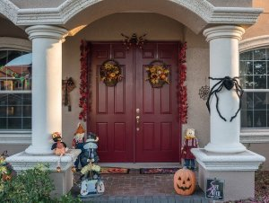 A house decorated for Halloween - it's time to pack up your Halloween decor for storage