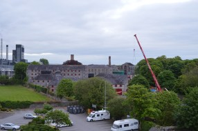 A view of the Jameson Heritage Centre from the roof of the (mostly empty) multi-storey at Distillery Lanes.
