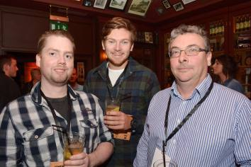 No Reproduction Fee Michael Morris, Henry Donnelly and Joe Donnelly, Counihans Bar, pictured at the launch of the Franciscan Well Jameson-Aged Pale Ale. Pic John Sheehan Photography