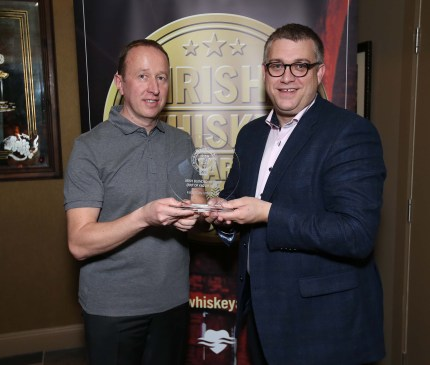 Pictured at the Irish Whiskey Awards 2016 which took place in the Tullamore Distillery Visitor Centre recently (20th October 2016) were Ally Alpine and Brian Nation who was awarded a Gold Medal for Jameson The Distiller's Safe in the Irish Blended Whiskey (RRP of €60 or more) category For further information please contact O'Leary PR 01-6789888