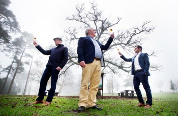 NO REPRO FEE 12/01/2018 Kilkenny Whiskey Guild. Pictured at a Kilkenny Whiskey Guild tasting event are (l to r) Kevin O'Gorman, Midleton Master of Maturation; Dave McCabe, Midleton Blender; Ger Buckley, Midleton Master Cooper, in celebration of Irish Distillers next chapter in its Virgin Irish Oak Collection of Single Pot Still Irish Whiskeys; Midleton Dair Ghaelach Bluebell Forest edition. This exceptional offering has been finished in barrels made from Irish oak grown in the Bluebell Forest of Castle Blunden Estate in County Kilkenny. Photograph: Leon Farrell / Photocall Ireland