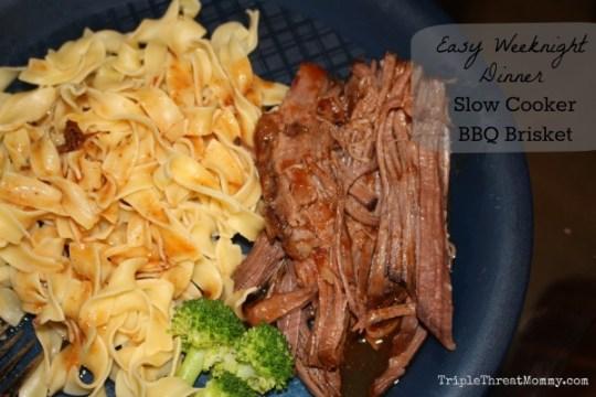 Easy Weeknight Dinner: Slow Cooker BBQ Brisket via Food Network Mag | TripleThreatMommy.com