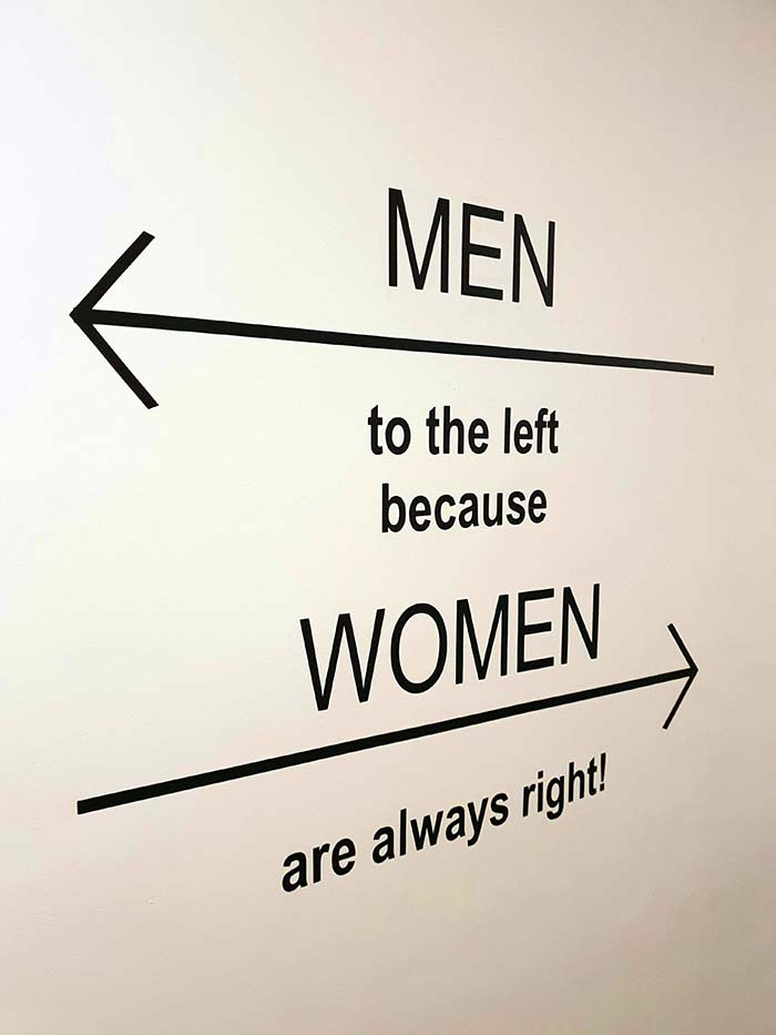 Men to the left because women are always right!