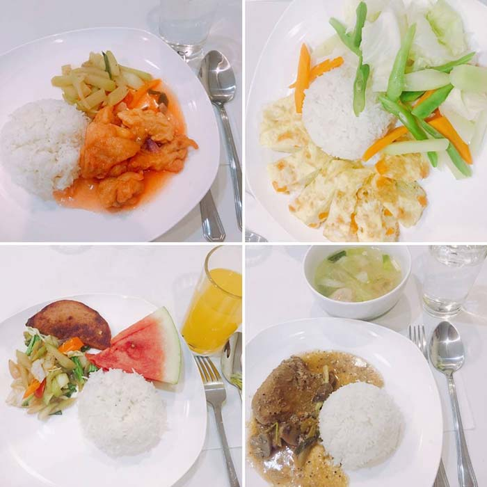 宿務Winning 四星級主廚, 學校餐廳, 校內餐點