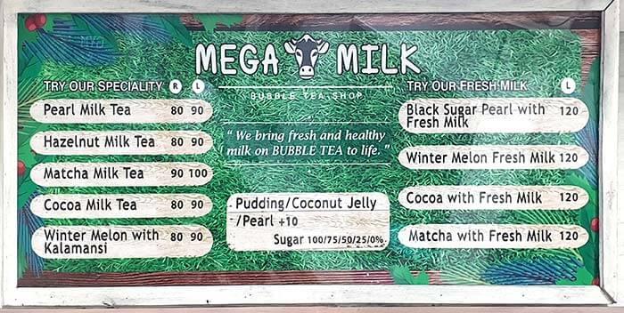 MEGA MILK menu, 菜單, 目錄, 價格