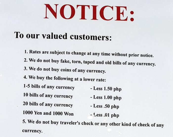 宿霧美金小面額換匯, 匯率比較差, 差異