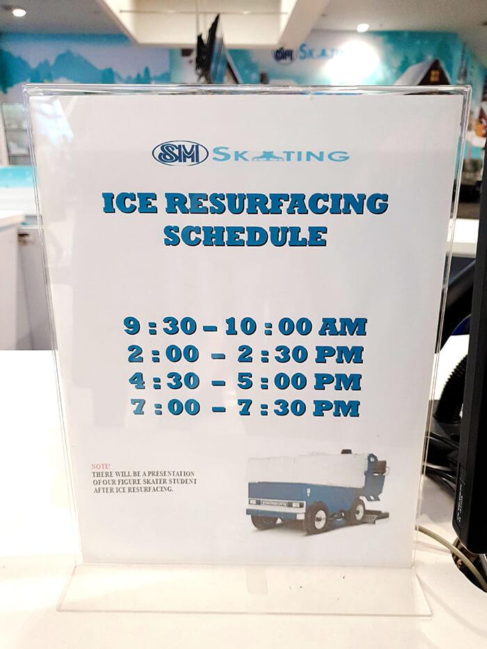 溜冰場場地清理時間表, 清理半個小時, 清場時刻表