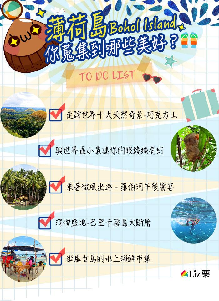 巧克力山, 眼鏡猴, 八里凱薩, 水上市集, 處女島