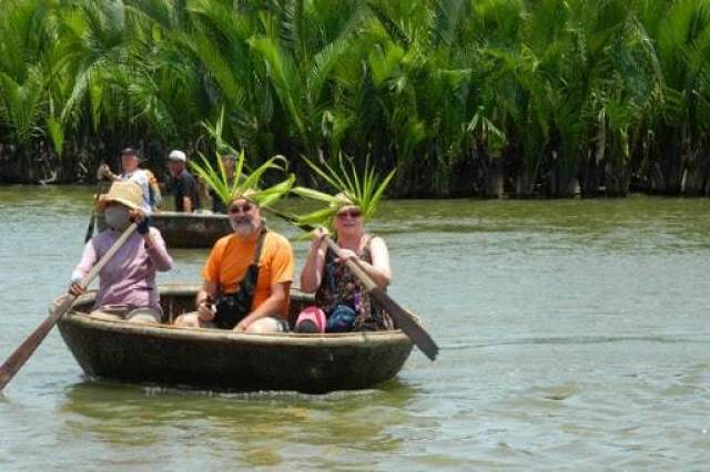 Basket boat in the coconut forest