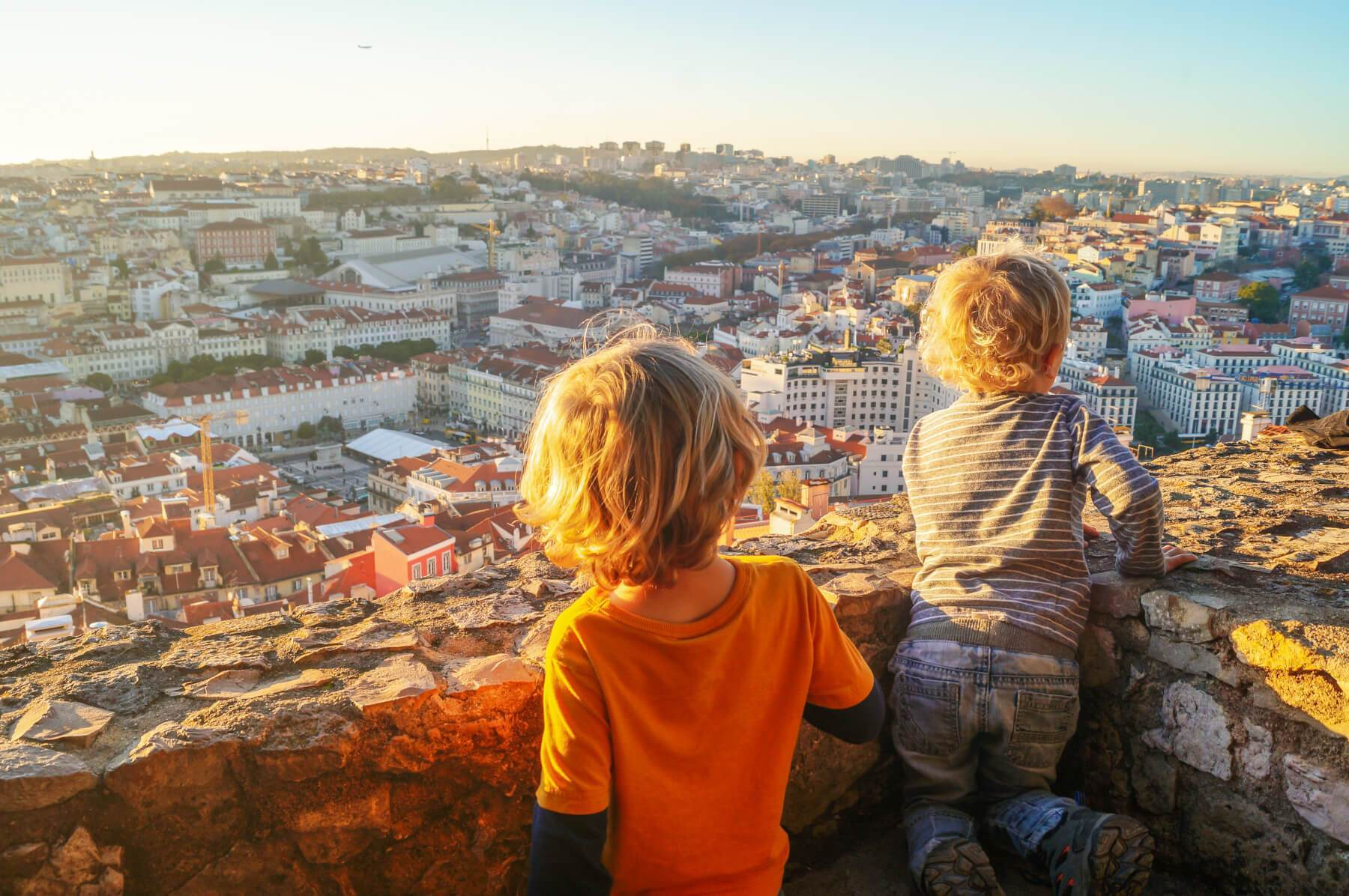 two little boys on the view castle in Lisbon