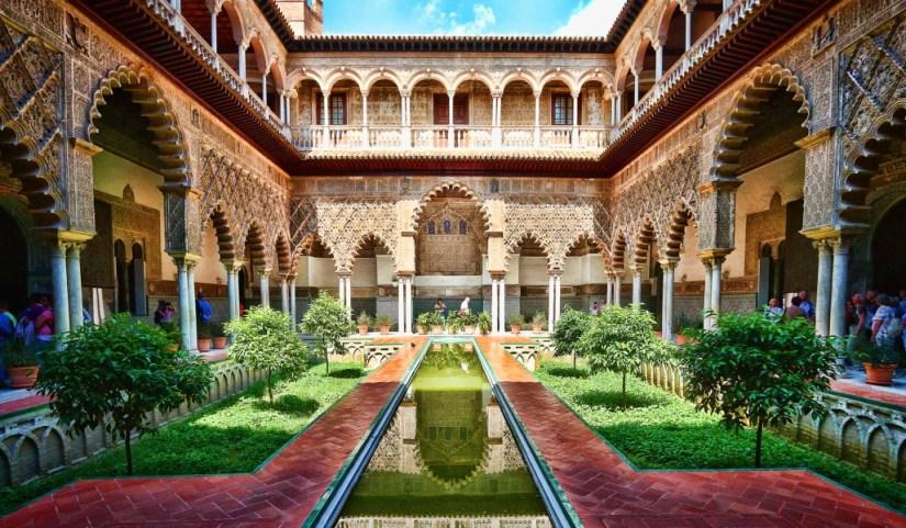 the garden in Alcázar, Seville
