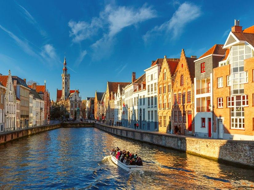 sailing on canals in Bruges Belgium