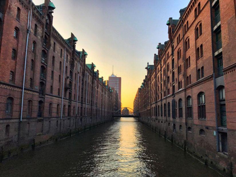 Speicherstadt district in Hamburg