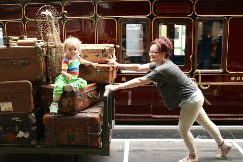 mom and daughter at National Railway Museum York