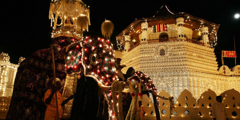 in occasione dell'Esala Perahera, il Tempio del Dente si anima con  processioni in abiti medievali, sfilate di elefanti bardati a festa e manifestazioni con danze e musiche tradizionali.