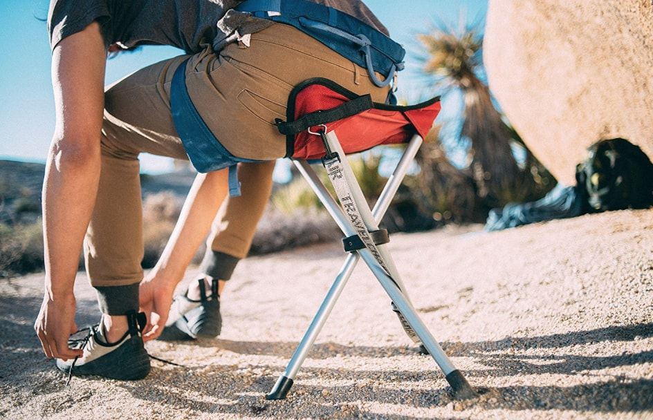 tripod stool rocking climbing red sitting