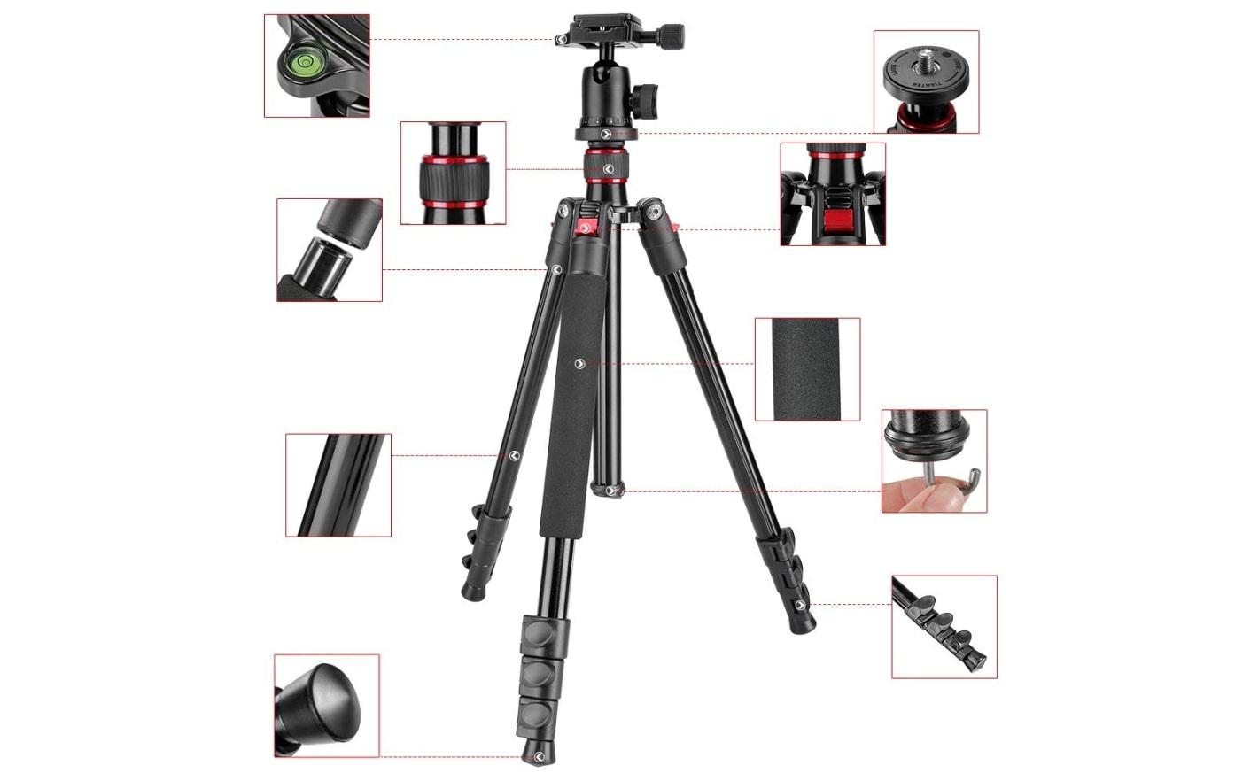 "Neewer Alluminum Alloy 62"" Camera Tripod features"