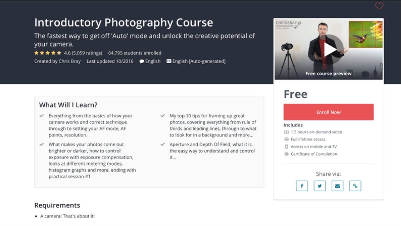 Udemy Introduction To Photography Course