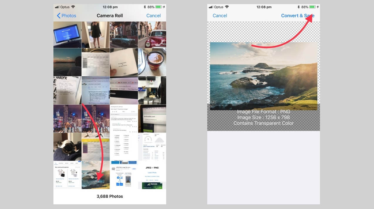 Select photo from camera roll and convert