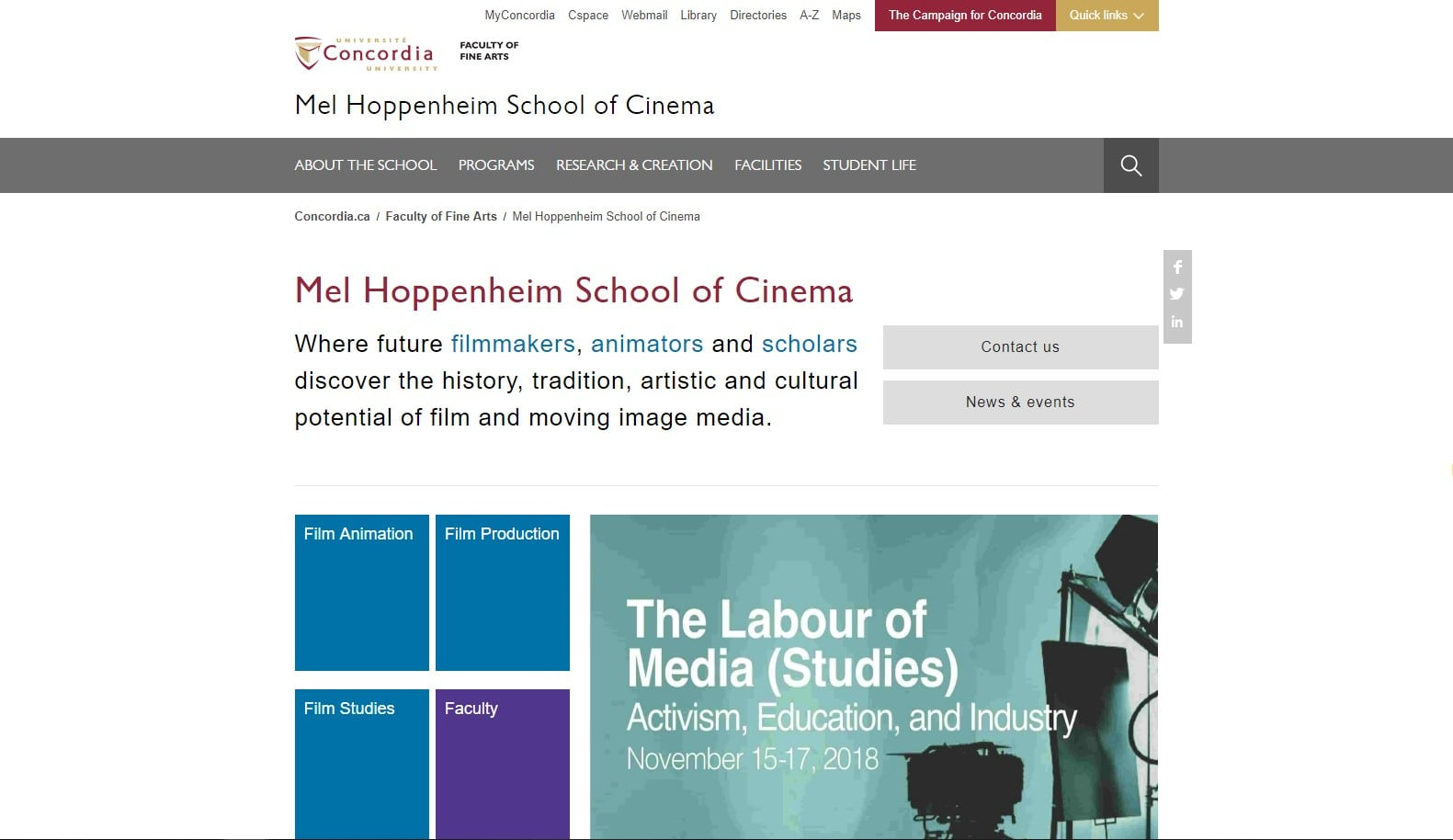 Concordia University - Mel Hoppenheim School of Cinema