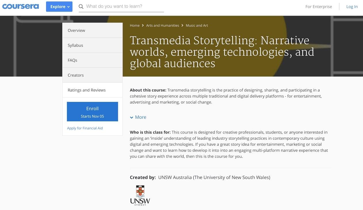 Coursera - Transmedia Storytelling
