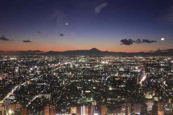 The Tokyo skyline with Mount Fuji visible in the distance.