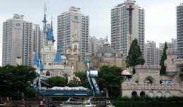 The castle at the heart of Lotte World in downtown Seoul, South Korea looks very similar to Cinderella's Castle at Disney World.