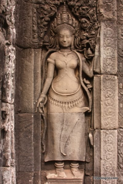 A carving on Angkor Thom in Siem Reap, Cambodia.