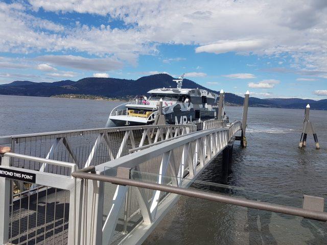 MR-1 flying in to dock at Brooke St Pier, Hobart