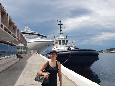 Danae with the big boats outside MACq 01 Hotel, Hobart Tasmania