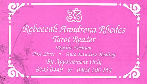 Hobart Psychic Expo Travel Review - Psychic Rebeccah Rhodes' business card