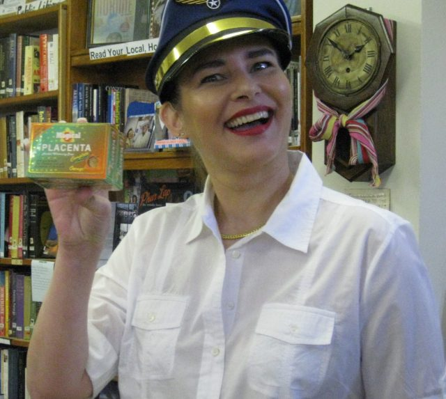 """Pilot Danae"" with a box of Magical Placenta!"