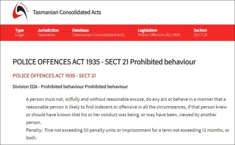 Tasmanian Prohibited Behaviour ACT