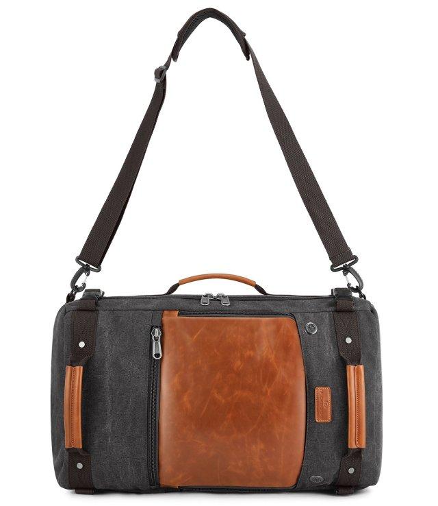 Plambag Canvas Retro Travel Duffel Backpack - Dark Grey