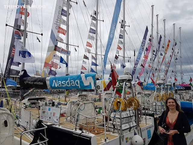 Danae with the Sydney to Hobart yachts on the Hobart Waterfront