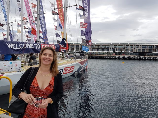 Danae with the Sydney Hobart yachts docked in front of MACq 01 Hote, Hobart