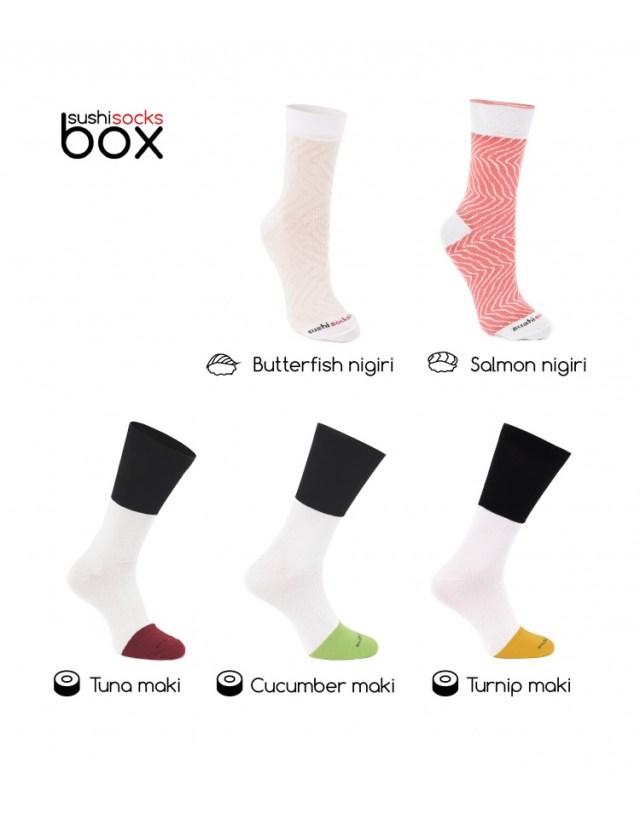 Sushi socks unrolled
