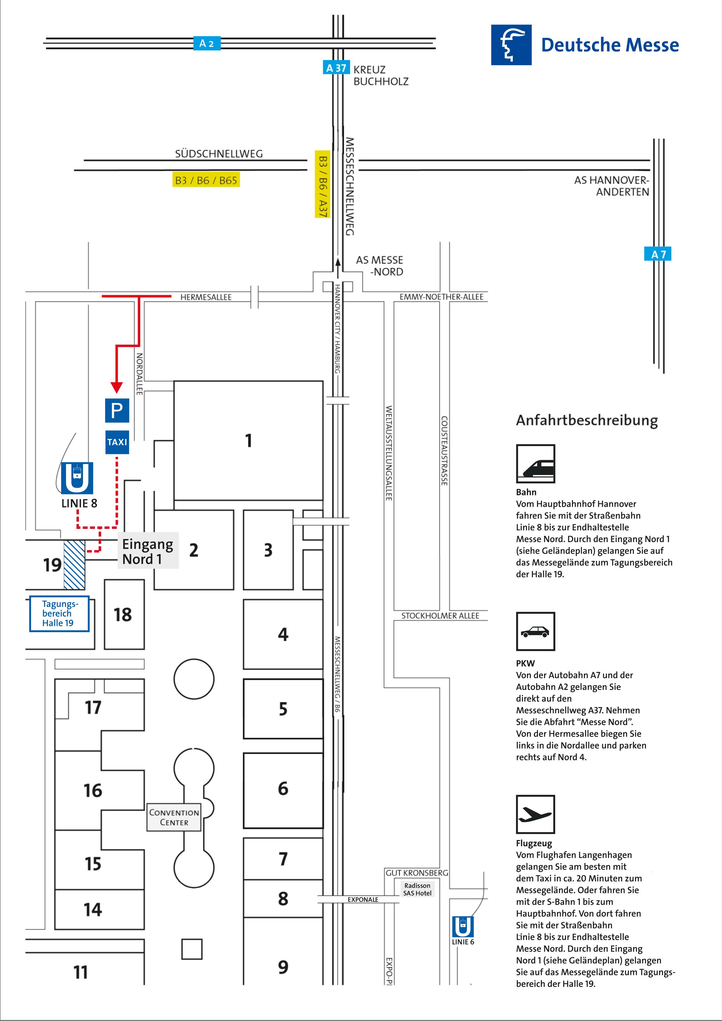 Anfahrt Tagungsbereich Halle 19