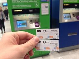 Buying train tickets in Paris.