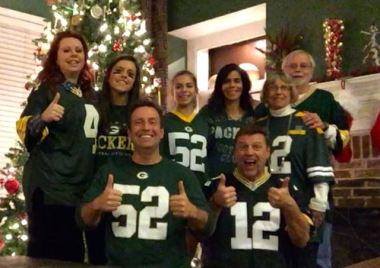 The Devine clan showing off their Packers colors.