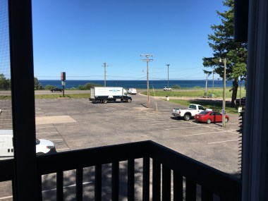 View of Lake Superior across the street from our balcony at the Econolodge in Marquette