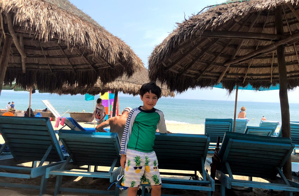 My son at the Hoi An beach