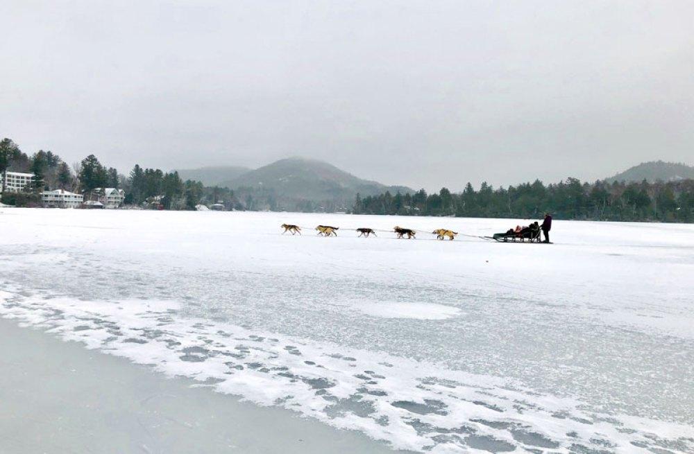 Dogsledding on the frozen Mirror Lake