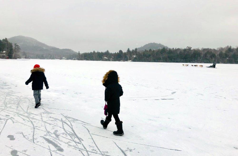 Walking on the snowy Mirror Lake